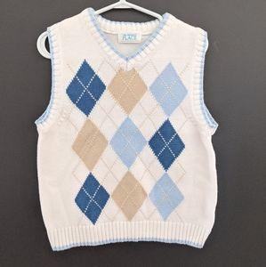 Cream & blue argyle sweater vest
